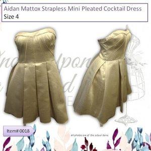 Aidan Mattox Gold Strapless Mini Pleated Dress Sz4